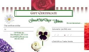 floral gift certificate