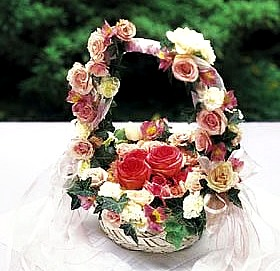 tea rose basket