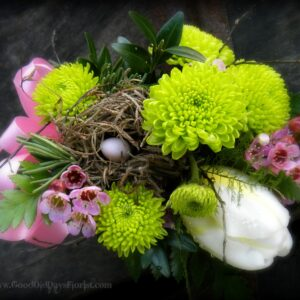 spring corsage with birdsnest